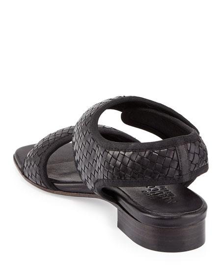Gryta Woven Leather Flat Sandal, Black