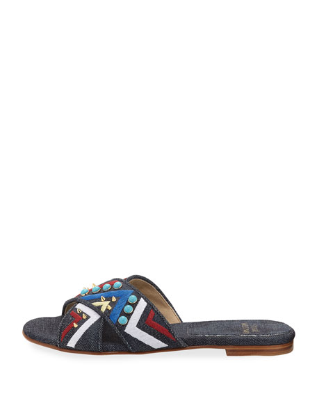 Buttoncandy Embroidered Denim Sandal, Navy