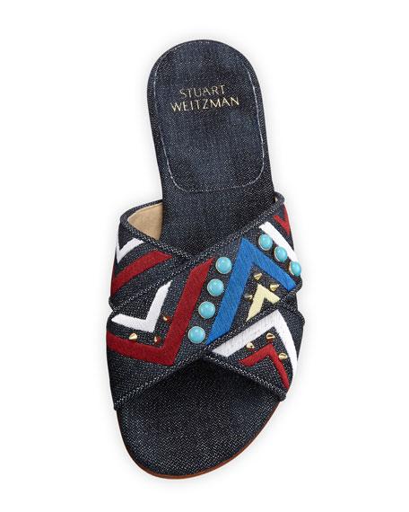 Buttoncandy Embroidered Denim Sandal, Navy