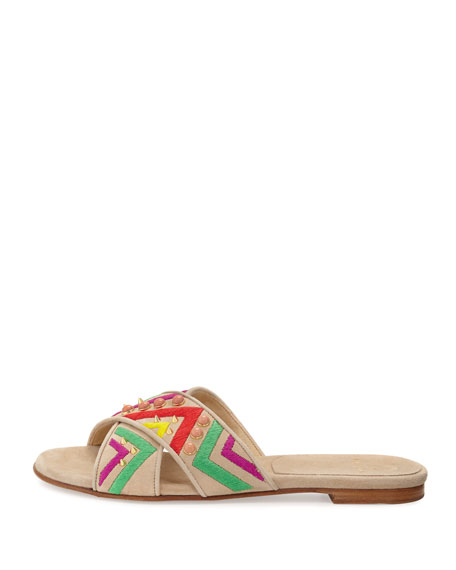 Buttoncandy Embroidered Suede Sandal, Light Beige