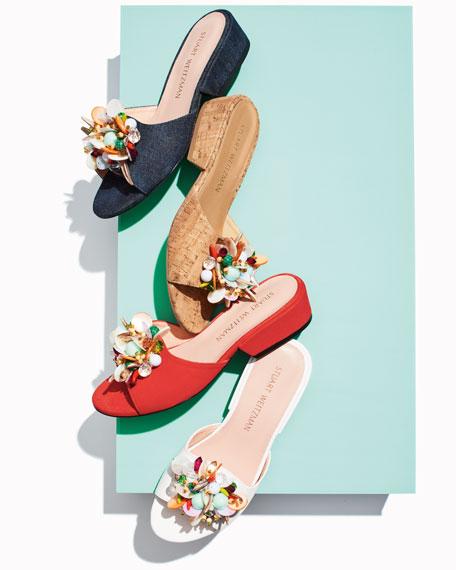 Cupcake Beaded Denim Slide Sandal, Navy