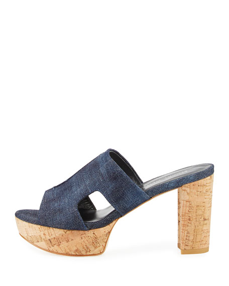 Draft Denim Platform Slide Sandal, Navy