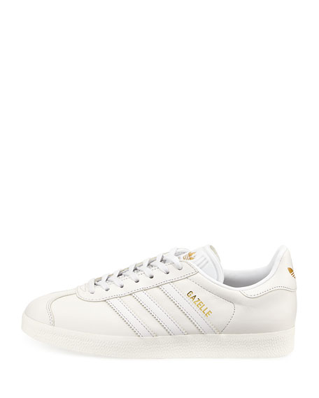 Gazelle Leather Lace-Up Sneaker, White