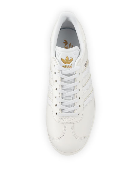 Gazelle Leather Lace-Up Sneakers, White