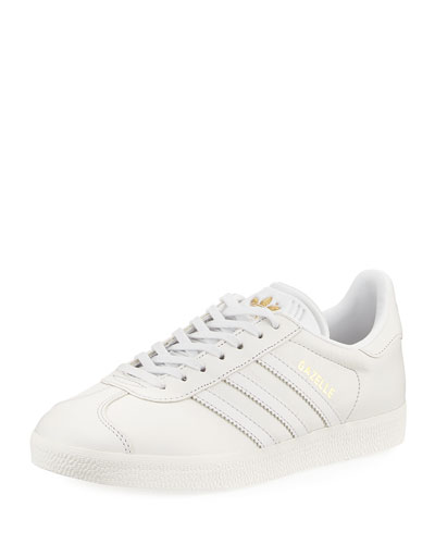 Adidas Gazelle Leather Lace-Up Sneaker, White