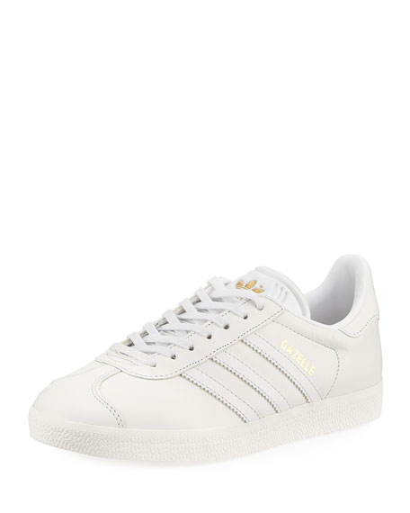Adidas Gazelle Leather Lace-Up Sneakers, White