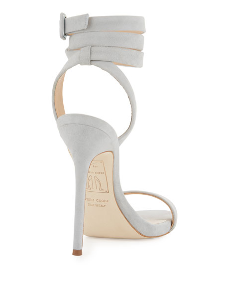 Alien Suede Ankle-Wrap 120mm Sandal, Gray