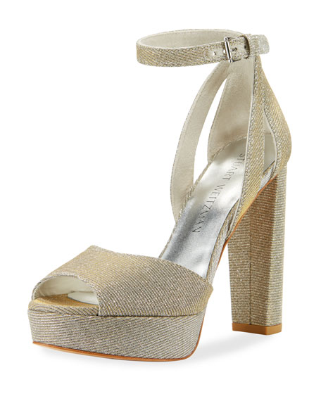 Stuart Weitzman Hijinx Nocturne Chunky-Heel Sandal, Silver