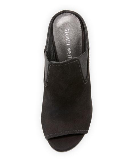 Slideup Nubuck Leather Open-Toe Mule