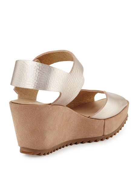 Fama Leather Wedge Sandal
