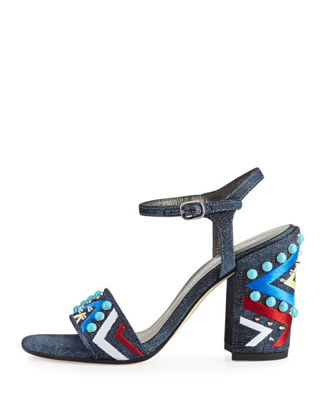 Both Embellished City Sandal, Navy