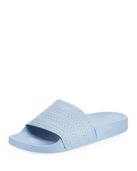 Adidas Adilette Striped Slide Sandal, Sky