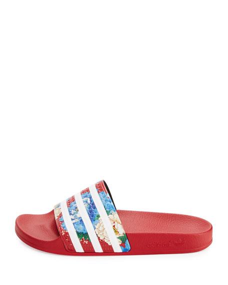 Adidas x la fattoria adilette floreale a righe slide sandalo rosso neiman