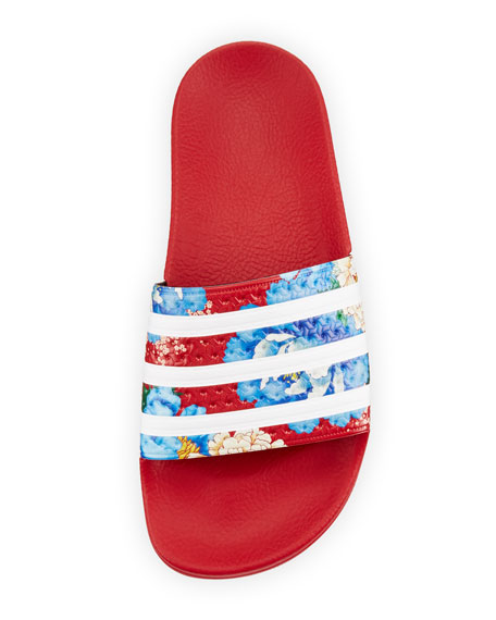 x The FARM Adilette Floral Striped Slide Sandal, Red