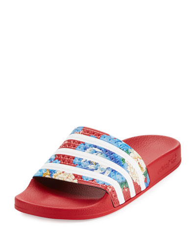 x The FARM Adilette Floral Striped Slide Sandal, Red
