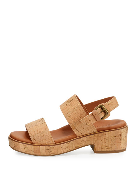 Talia Cork Flatform City Sandals, Neutral