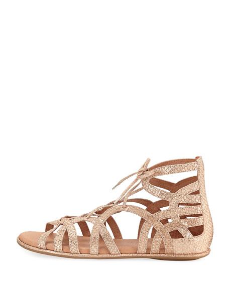 Break My Heart Flat Gladiator Sandal, Gold
