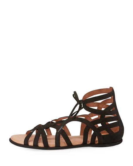 Break My Heart Flat Nubuck Gladiator Sandal