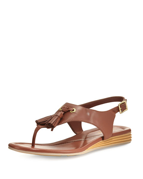 Rona Grand Tassel Thong Sandal, Brown