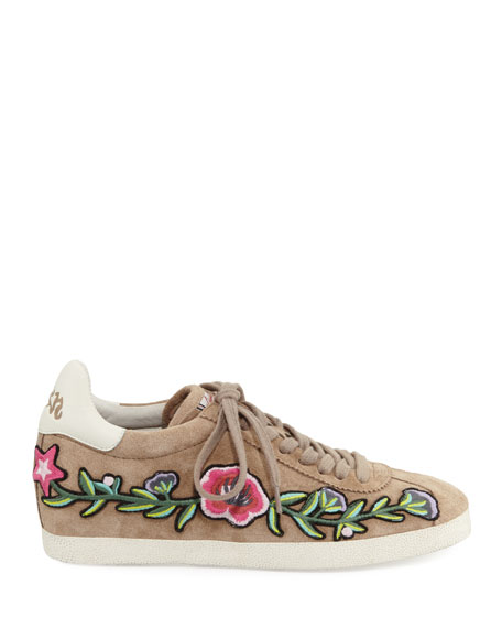 Gull Embroidered Suede Low-Top Sneaker, Coco
