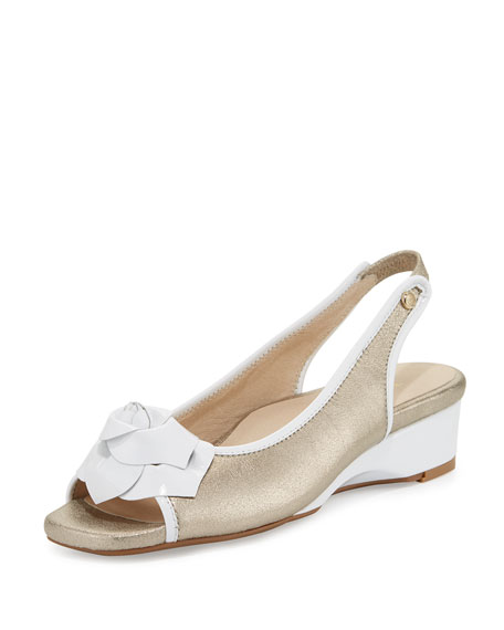Taryn Rose Karlos Flower Demi-Wedge Sandals, Quartz/White