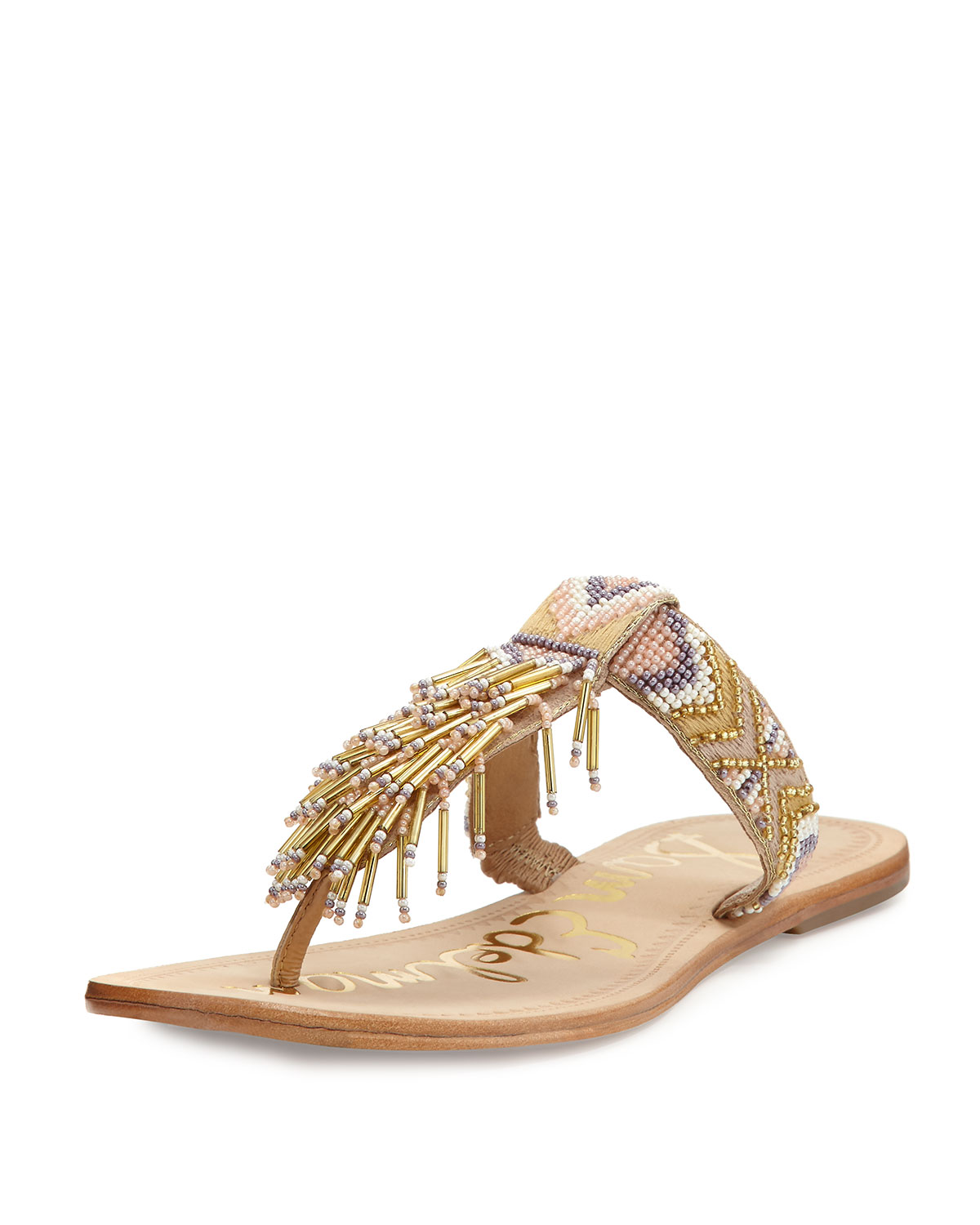 162224330ea20b Sam Edelman Anella Leather Beaded Flat Thong Sandals