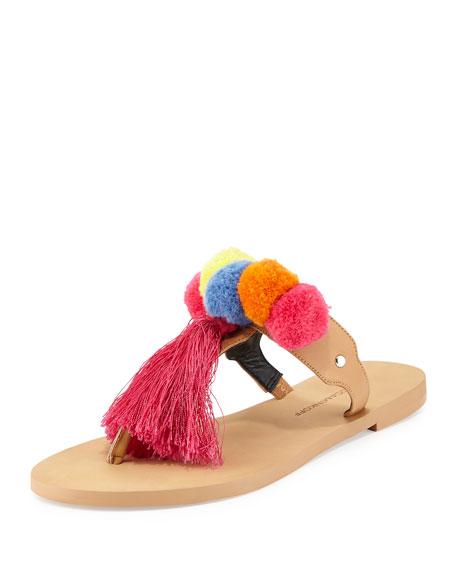 Rebecca Minkoff Erika Pompom Flat Leather Sandal, Beige