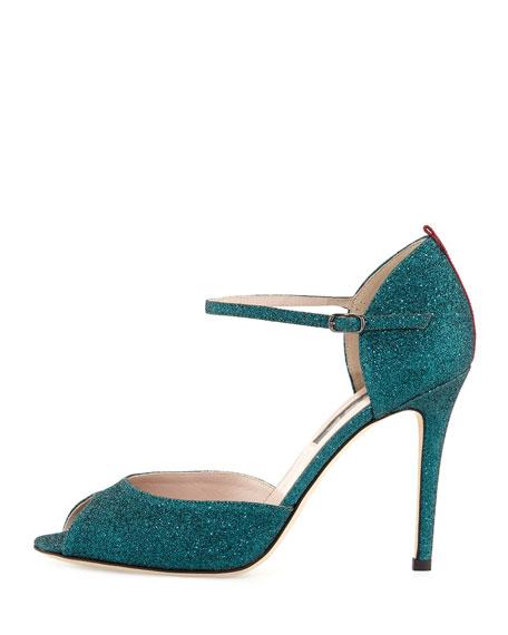 Ursula Glitter d'Orsay Sandal, Green