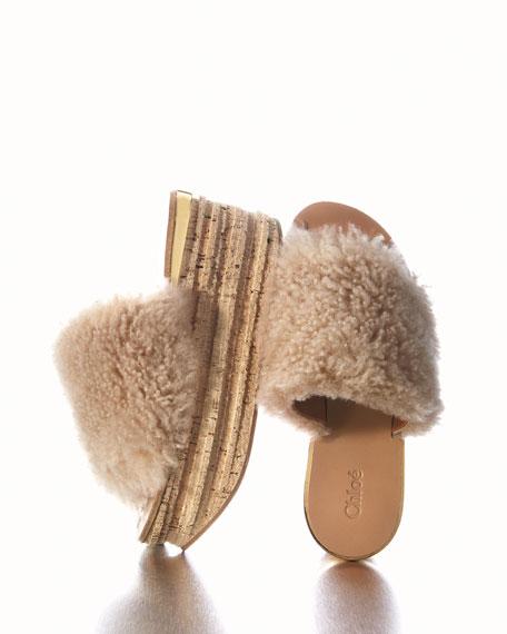 Camille Shearling Fur Platform Slide Sandal, Sand