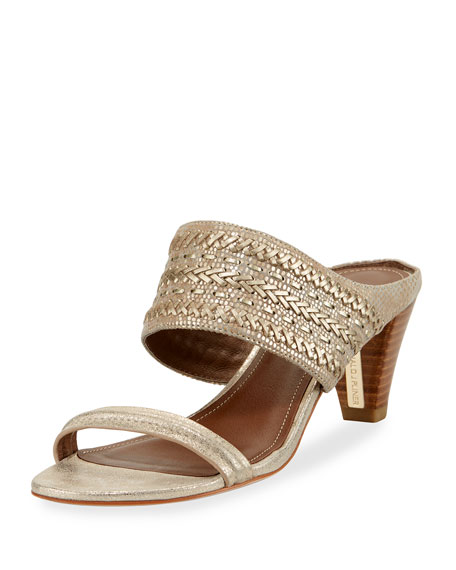 Donald J Pliner Viv Stitched Metallic Slide Sandal,