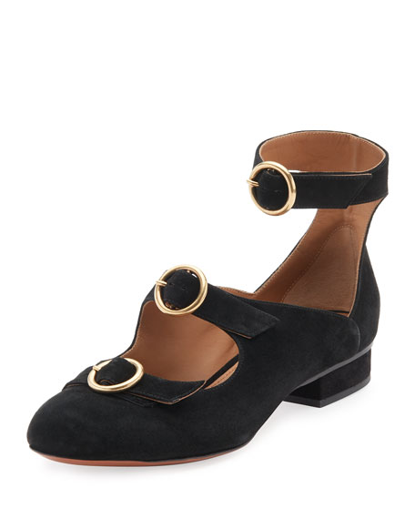 Buckle-Front Suede Flat, Black