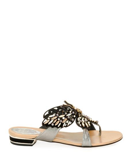 Butterfly Embellished Flat Thong Sandal, Black