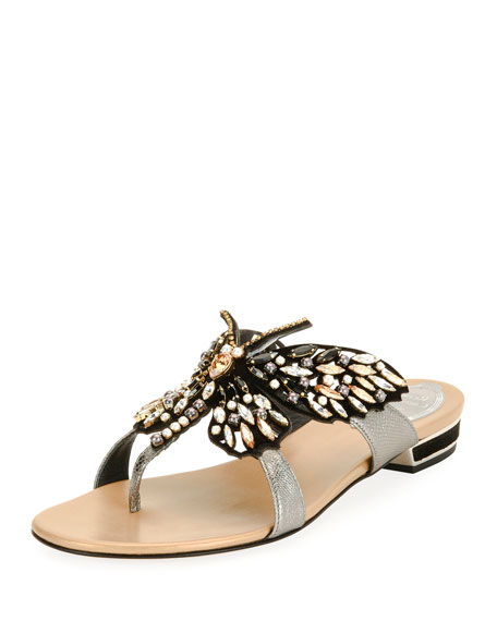 Butterfly Embellished Flat Thong Sandals, Black