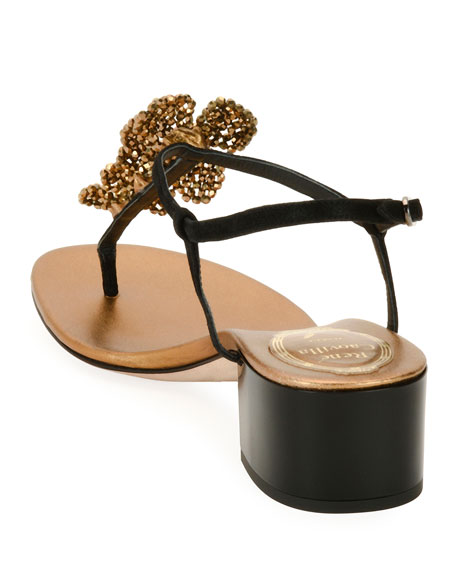 40mm Embellished Thong Sandal, Black