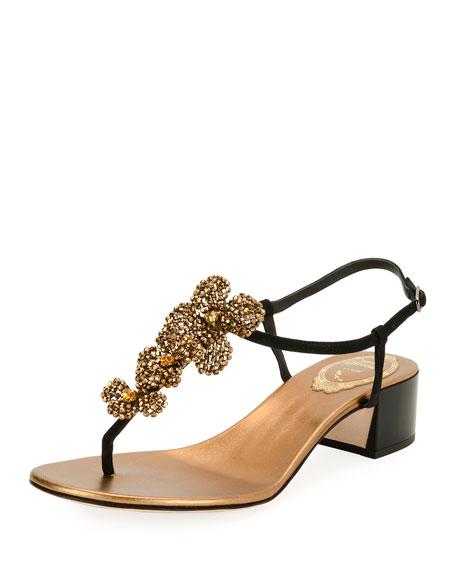 Rene Caovilla 40mm Embellished Thong Sandal, Black