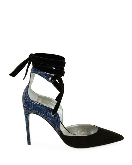Two-Tone Crystal-Back Ankle-Wrap Pump, Black/Blue