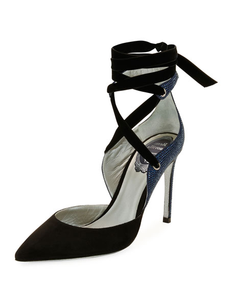 Rene Caovilla Two-Tone Crystal-Back Ankle-Wrap Pumps, Black/Blue