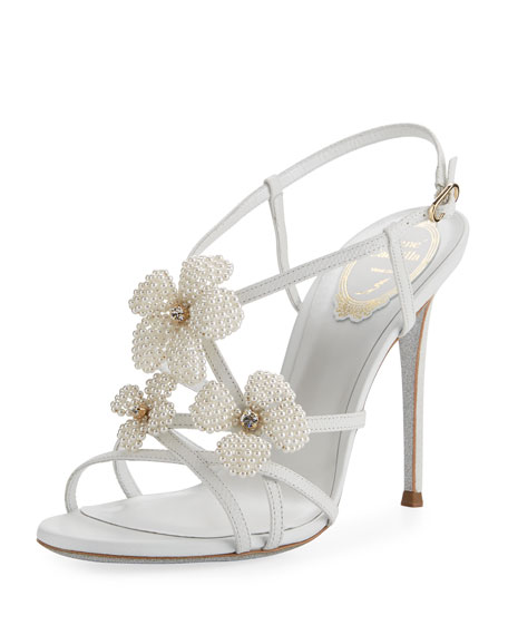 Rene Caovilla Snakeskin Beaded High Sandal