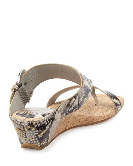 Doli Metallic Snake Wedge Sandal, White