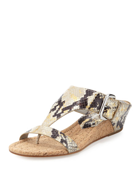 Donald J Pliner Doli Metallic Snake Wedge Sandal,