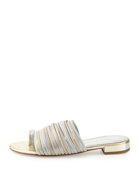 Frea Strappy Flat Slide Sandal, Silver