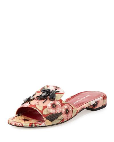 25fd64aaaf692a Donald J Pliner Fairy Floral Rhinestone Flat Slide Sandal