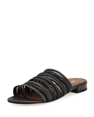 donald pliner outlet e944  Frea Strappy Flat Slide Sandal, Black