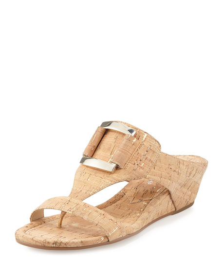 Daun Buckle Cork Wedge Sandal, Neutral