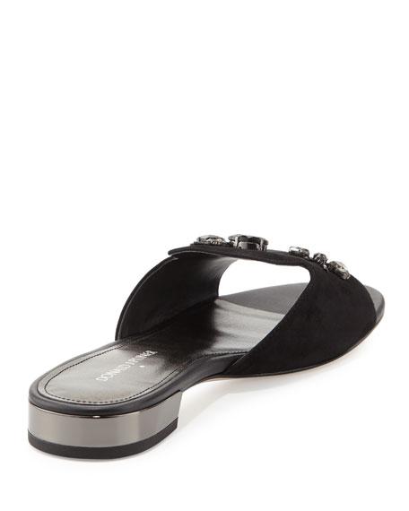 Fairy Suede Flat Sandal with Rhinestones, Black