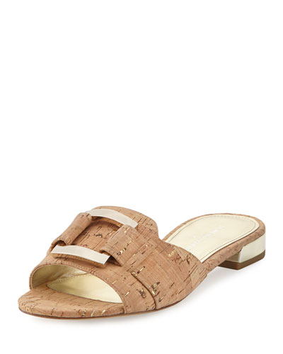 donald pliner outlet e944  Falta Cork Buckle Slide Sandal, Neutral