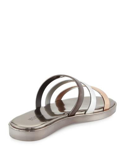MICHAEL MICHAEL KORS Keko Metallic Flat Slide Sandal