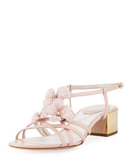 Rene Caovilla Beaded Flower Chunky Sandal, Pink
