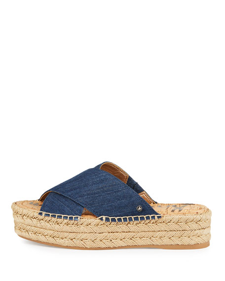 Natty Denim Espadrille Slide, Navy