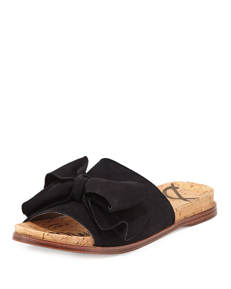 Sam Edelman Henna Bow-Top Suede Flat Sandal, Black